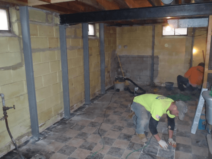 local basement contractors expertly install basement stabilization